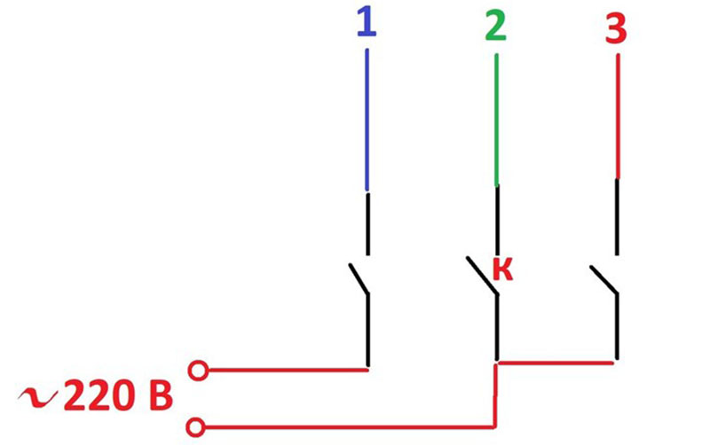 Схема подключения двигателя старой машины с кратковременным контактом