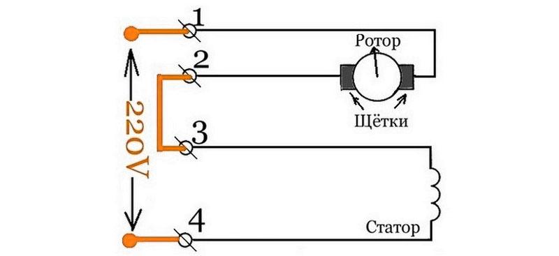 Схема подключения коллекторного двигателя