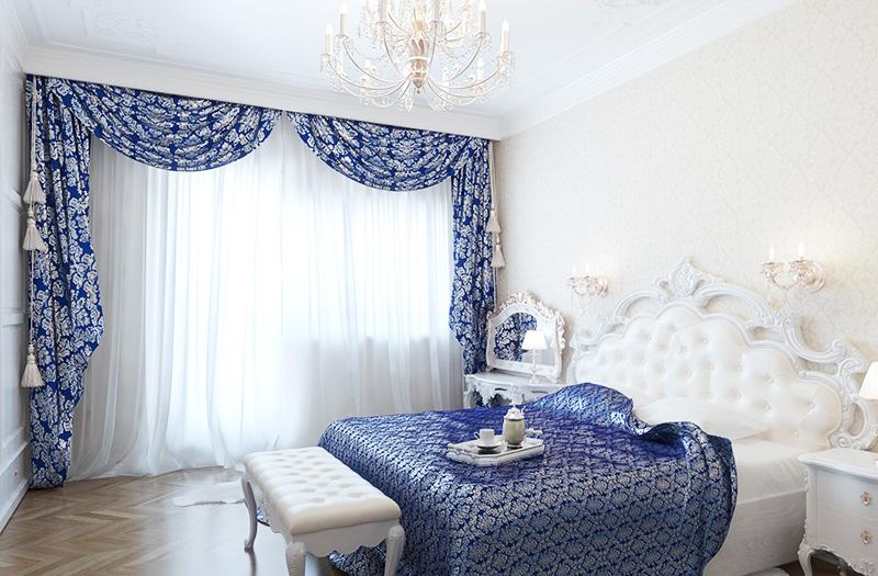 Ламбрекен в спальню в голубых тонах