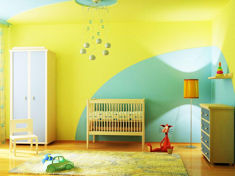 Довольно интересный и спокойный дизайн детской