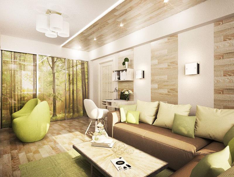 Разрабатывая дизайн квартиры, не забывайте о новых тенденциях и направлениях. Вы можете отделать деревом не только одну стенку, но и половину потолка, при этом, мы рекомендуем использовать один и тот же отделочный материал