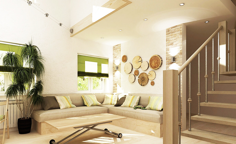 Используйте срезы дерева вместо фоторамок или просто повесьте их на стену