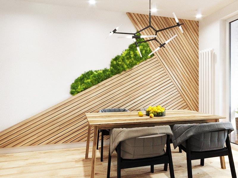 Отделка стен деревянными панелями может быть креативной и необычной