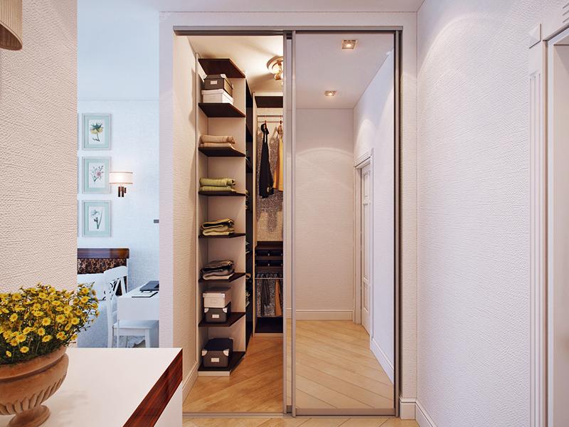 Для увеличения пространства можно установить раздвижную стеклянную дверь