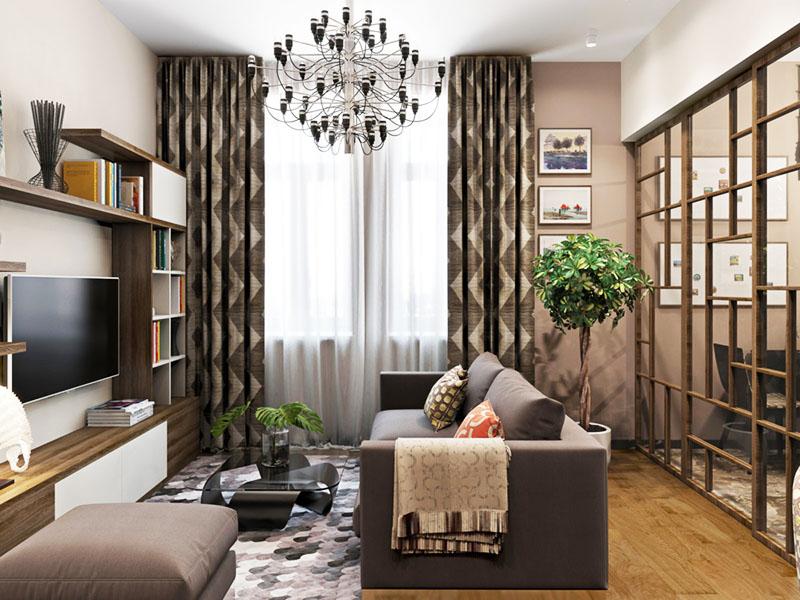 Лёгкие деревянные конструкции не только украсят гостиную, но и позволят отделить зоны для сна и приёма гостей