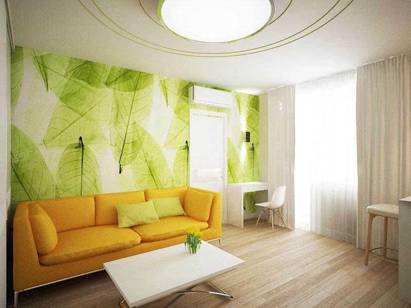 Яркий диван не только добавляет цвета в комнату, но и приближает интерьер к популярному стилю лофт