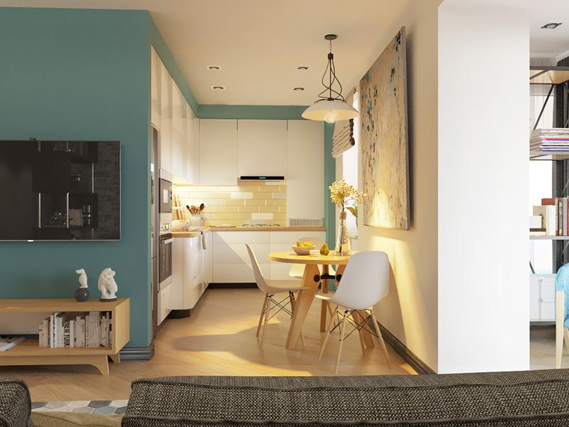 Выкрашивая стены в разные цвета, можно выделять зоны в квартире