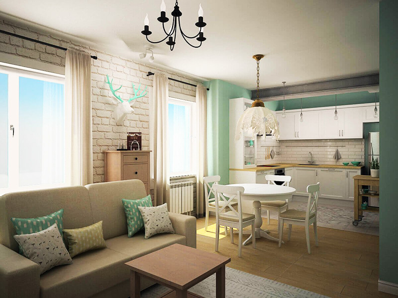 Чтобы сделать помещение светлым, для отделки стены с окнами используются материалы белого цвета