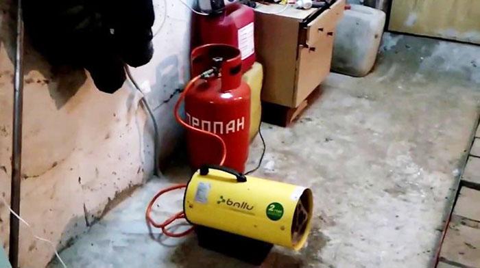 Монтаж тепловой газовой пушки