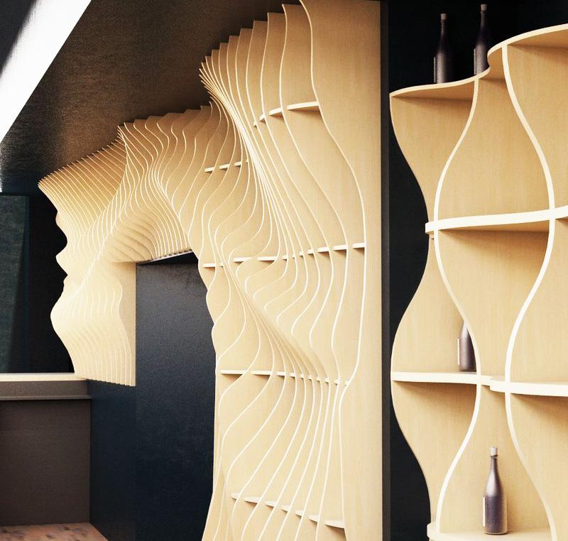Этот проект напоминает некий эксперимент дизайнера с пространством, который в реалиях обычных квартир может и не прижиться