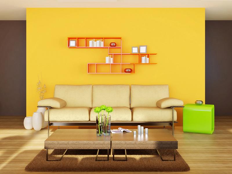Выступы или ниши в стенах выкрашивайте яркой, контрастной краской – этот нехитрый приём позволит вам зрительно увеличить помещение
