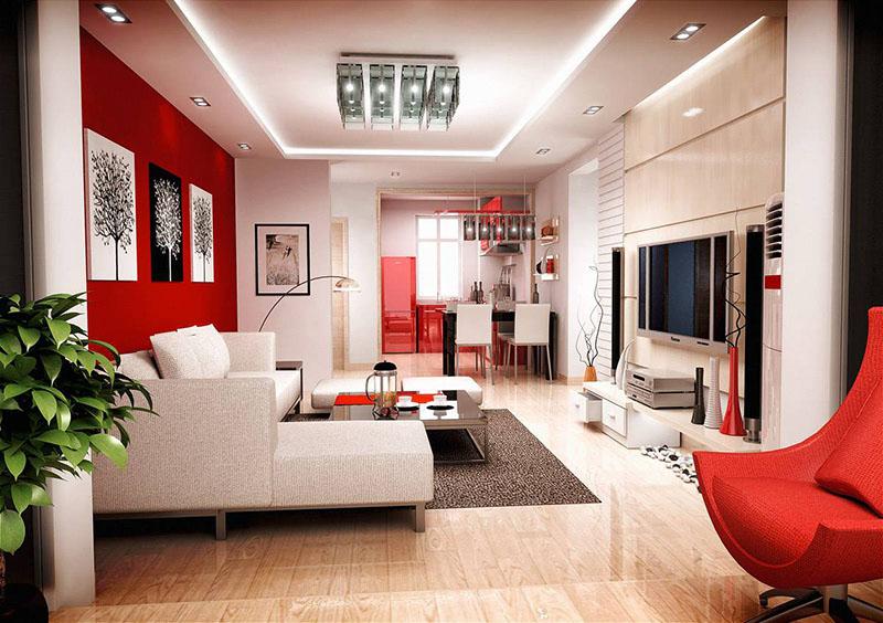 Интересное решение – отделать одну стену красными обоями, разбавив остальной интерьер чистыми белыми элементами