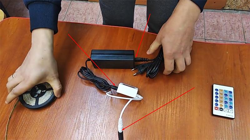Соединение всех элементов цепи – теперь можно включать блок питания в сеть