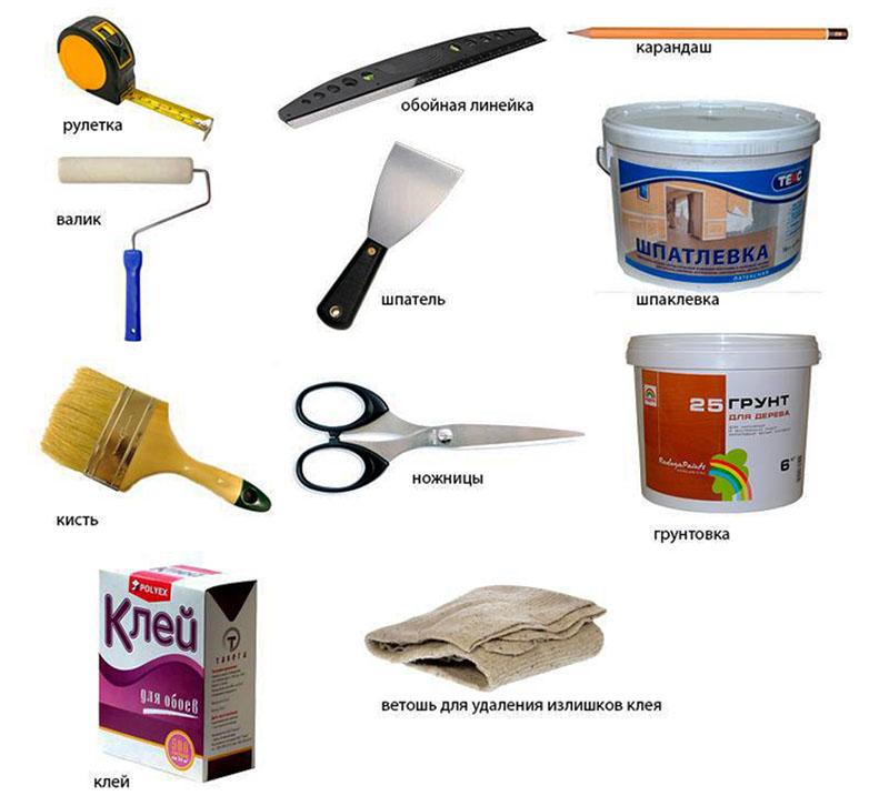 Ножницы пригодятся для надрезания лишней части обоев в углах и возле стыков