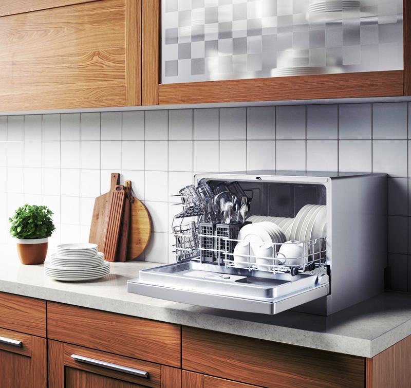 Небольшой аппарат для мойки посуды подойдёт маленьким семьям