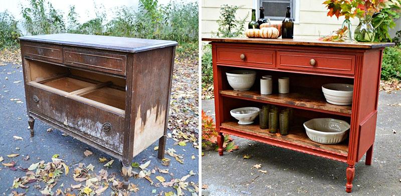 Используйте наджачку и матовую краску, чтобы превратить старый комод в изящный кухонный шкаф