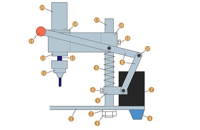 Схема механизма вертикального перемещения дрели