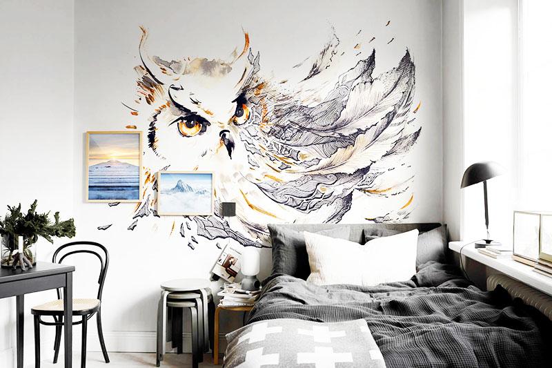 Если у вас в квартире белые стены, украсьте их красивым рисунком в скандинавском стиле