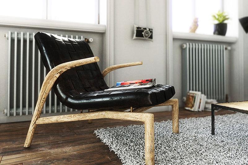 Отличный вариант мебели в скандинавском стиле – сочетание кожи и дерева