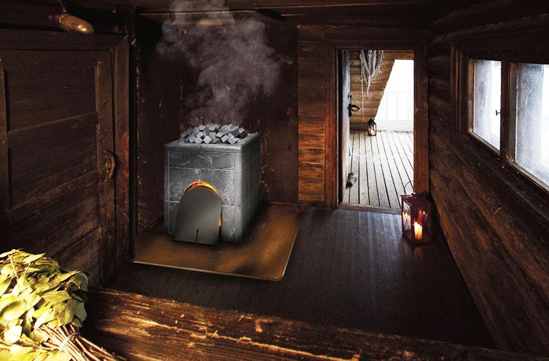 Современный вариант внутреннего пространства бани по-чёрному