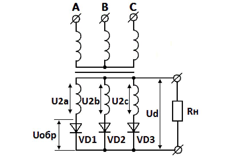 Принципиальная схема однотактного трёхфазного моста-выпрямителя