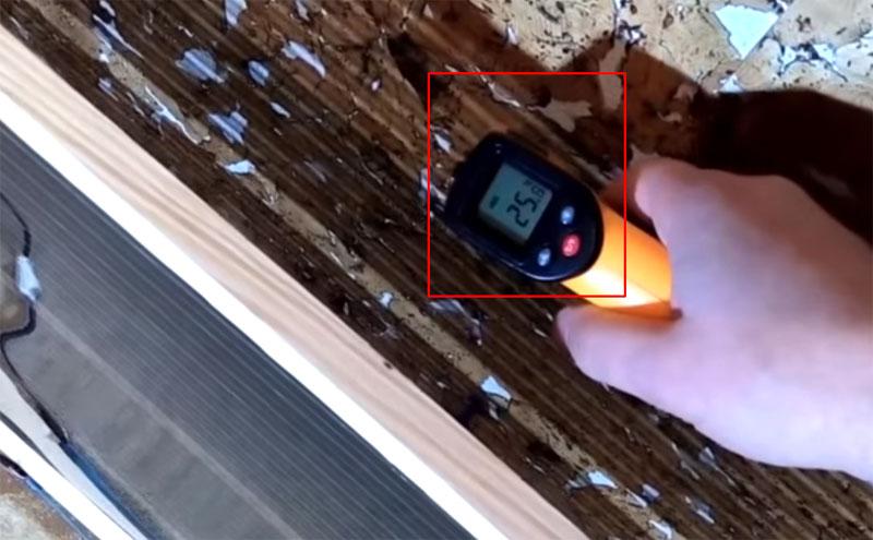Температура значительно повысилась, что подтверждает работоспособность изготовленного инфракрасного обогревателя