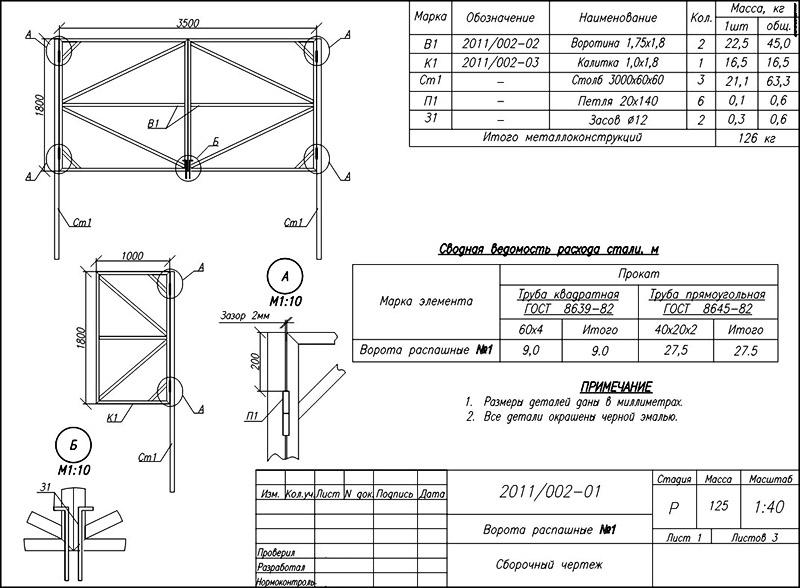 Профессиональный чертеж ворот для самостоятельного производства