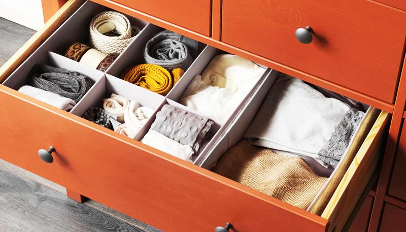 Размер ящиков позволяет комфортно разместить всю необходимую одежду