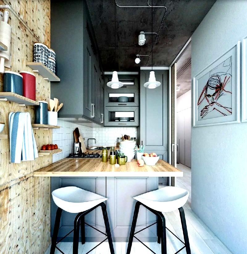 На маленькой кухне можно оставить электропроводку открытой, а также использовать дерево и металл в отделке