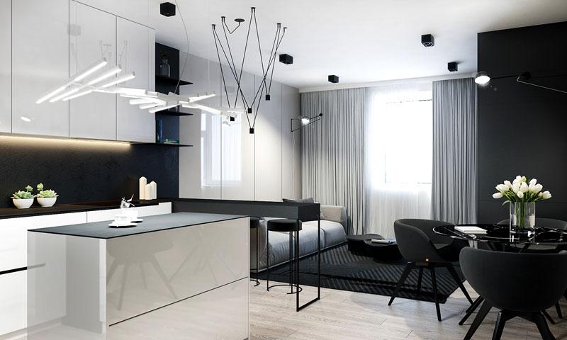 При использовании серо-белых оттенков вы можете выбрать глянцевые поверхности мебели и фактурные ковры