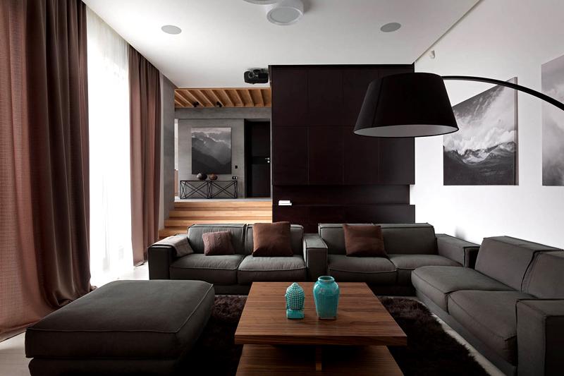 Выбирая сочетание серого и коричневого используйте дополнительно белый цвет для создания «воздуха» в пространстве. Отдавайте предпочтение фактурным деталям, разбавляя ими ровные, гладкие поверхности