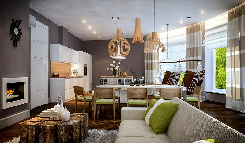 Повесьте в центре комнаты гамак, а вместо стола используйте соединённые вместе обработанные пеньки