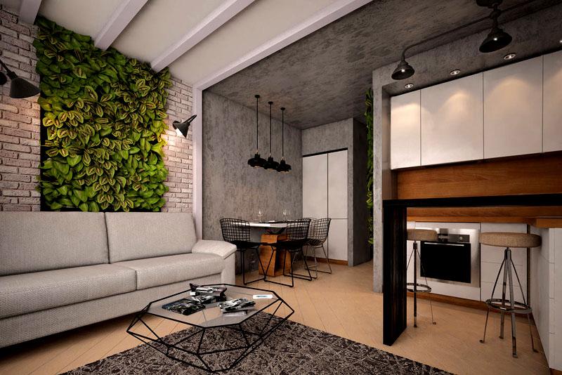 На одной из стен вы можете оформить природную композицию из вечнозелёных растений