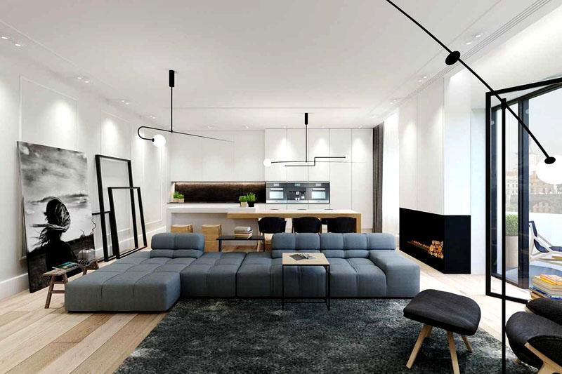Если размеры комнаты позволяют, поставьте в центре большой диван, а оставшееся пространство заполните декоративными элементами