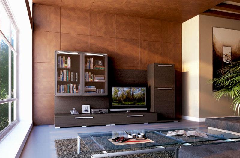 Идеальное решение – оформить одну стену от пола до потолка ровными плитками коричневого цвета