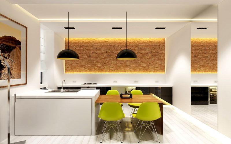 Чтобы стены на кухне выглядели необычно и стильно, соорудите многоуровневую выкладку. Также можно добавить светодиодных или обычных ламп для лучшей освещённости помещения