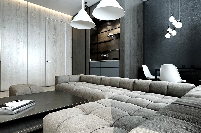 Сочетание бетонных и деревянных поверхностей красиво смотрится при оформлении квартиры в стиле минимализм