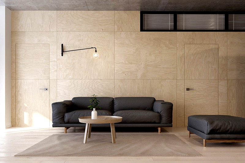 Спрячьте двери в стене, чтобы не создавать лишних линий и сочетаний цветов