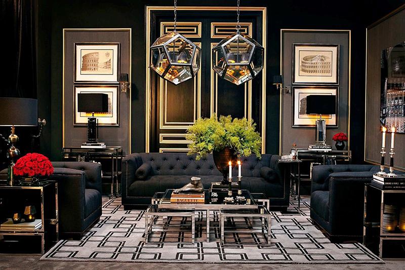 Эффектная гостиная с сочетанием тёмно-коричневого и чёрного цветов