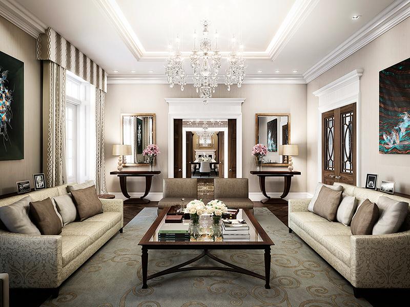Интересная гостиная с установкой мягкой мебели и стеклянного журнального столика