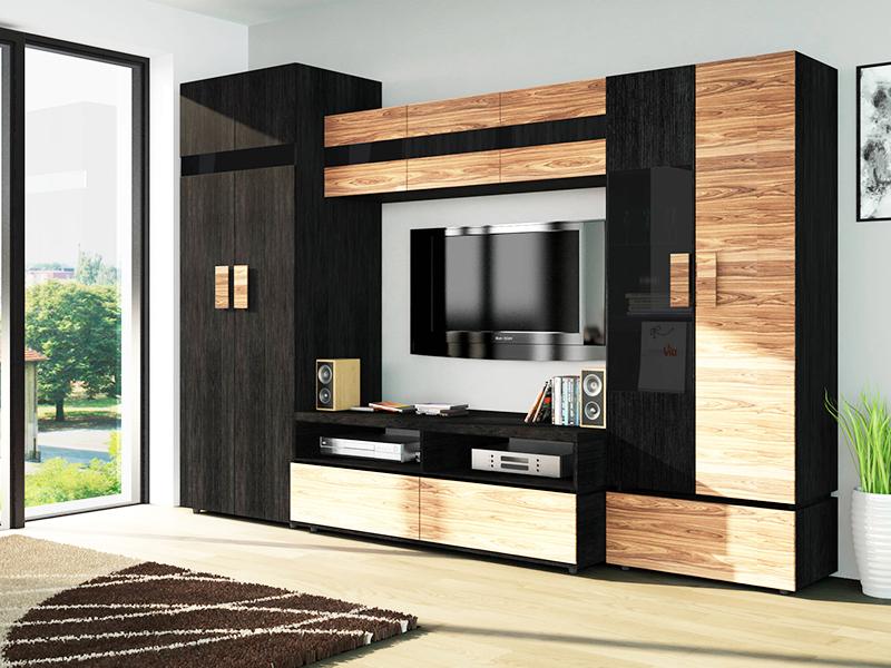 Красивая гостиная в стиле арт-деко со стенкой и нишей под телевизор
