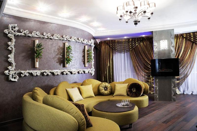Габаритная гостиная с полукруглыми стенами