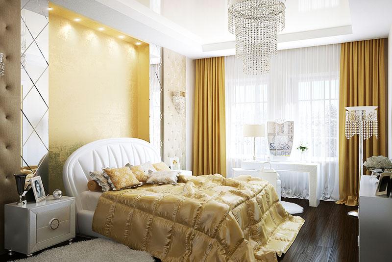 Красивая спальня с элементами золотистого