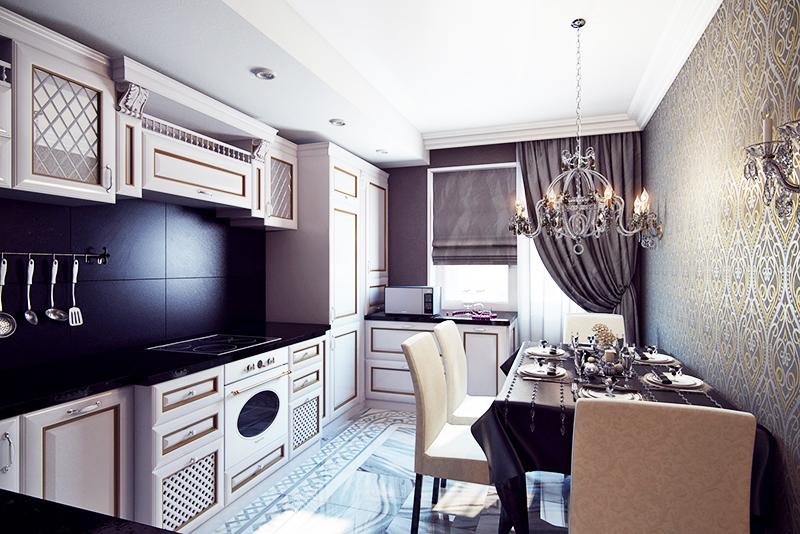 Красивая кухня с адаптированной мебелью