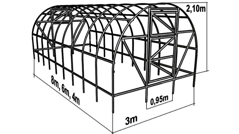 Арочная теплица и её основные размеры