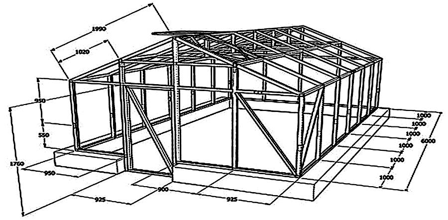 Каркас двускатной теплицы и её основные размеры