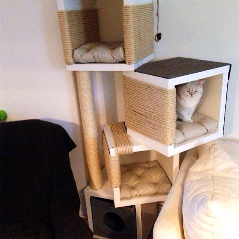Решение – распилить «кубики» и создать необычные домики для животных