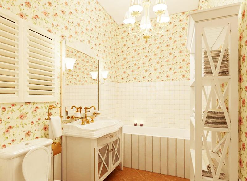 Если вы решили заклеить обоями всю комнату, используйте красивую белую плитку над ванной и возле раковины