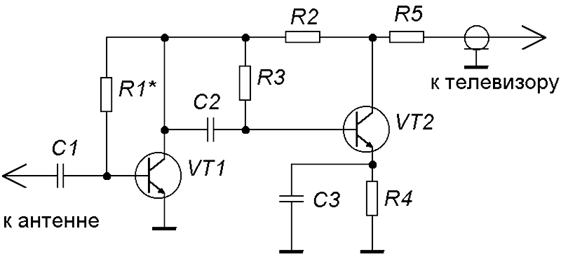 Простейшая схема усилителя цифрового сигнала