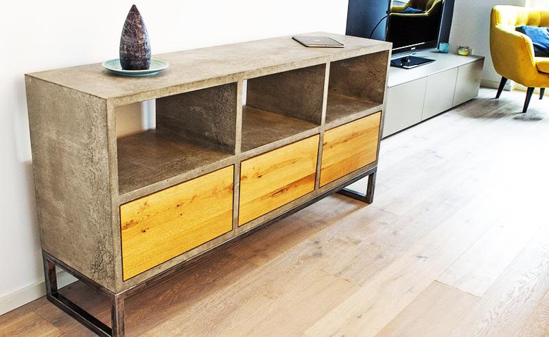 Модное и стильное решение – отделка мебели «под бетон», с добавлением дерева
